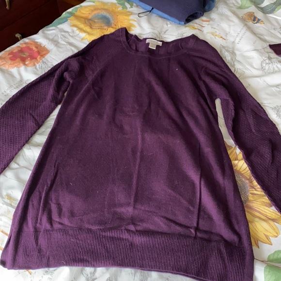 Loft lightweight crewneck sweater plum colored